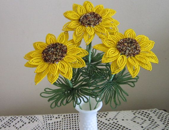 French Beaded Flowers Sunny Sunflowers