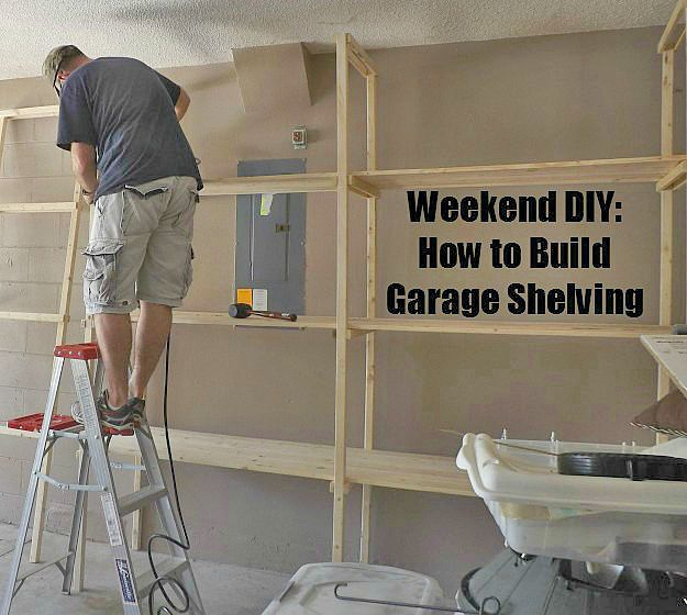 Garage Storage on a Budget- Lots of ideas and tutorials, including thow to build garage shelves by Premeditated Leftovers!