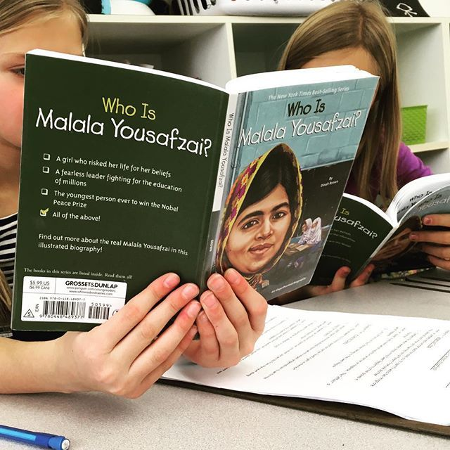 We LOVE this book series for our biography unit.  We start with a whole class read about Malala Yousafzai.  We talk about answering questions using text evidence, picking out important information (versus interesting information), filling out graphic organizers, etc.