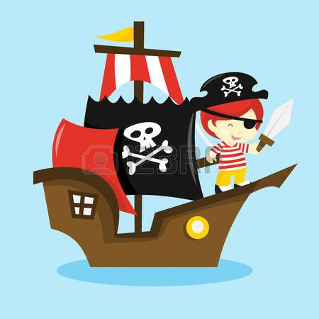 Pirata caricatura una ilustraci n vectorial de dibujos - Imagenes de barcos infantiles ...