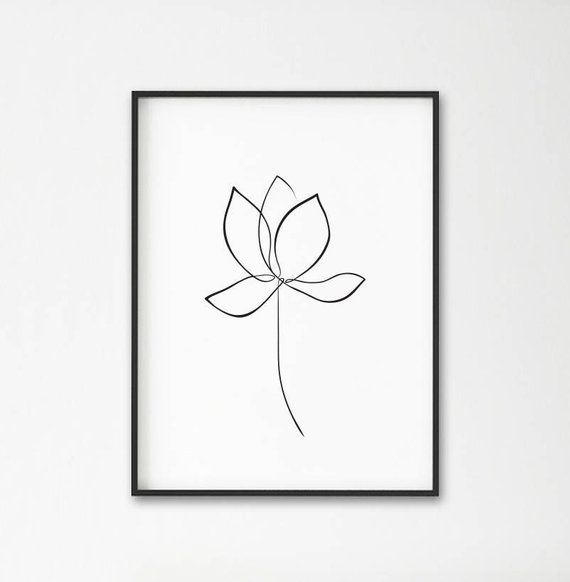 Lotus print, Water lily wall art, flower line art, lotus one line drawing, minimalist art, wabi sabi style, modern wall art, large printable – Flu Ma