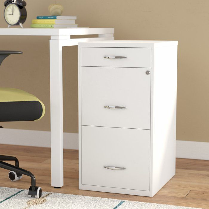 Locking File Cabinet Steel Filing 3 Drawer Security Home Office Furniture  White