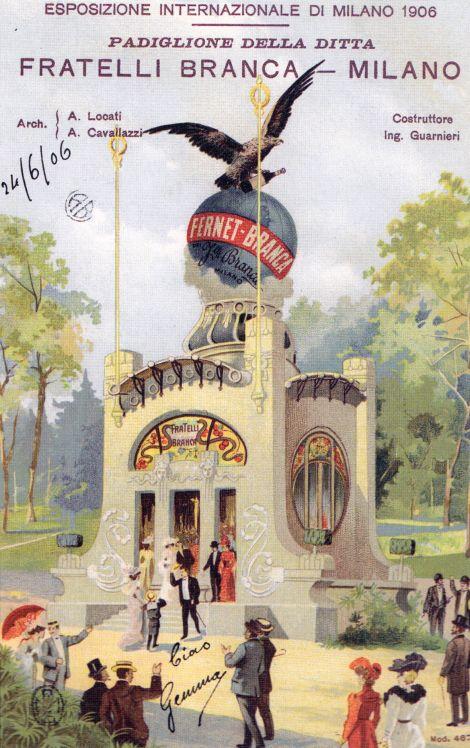 Il Padiglione della Fernet Branca all'Esposizione di Milano del 1906. Illustratore Leopoldo Metlicovitz