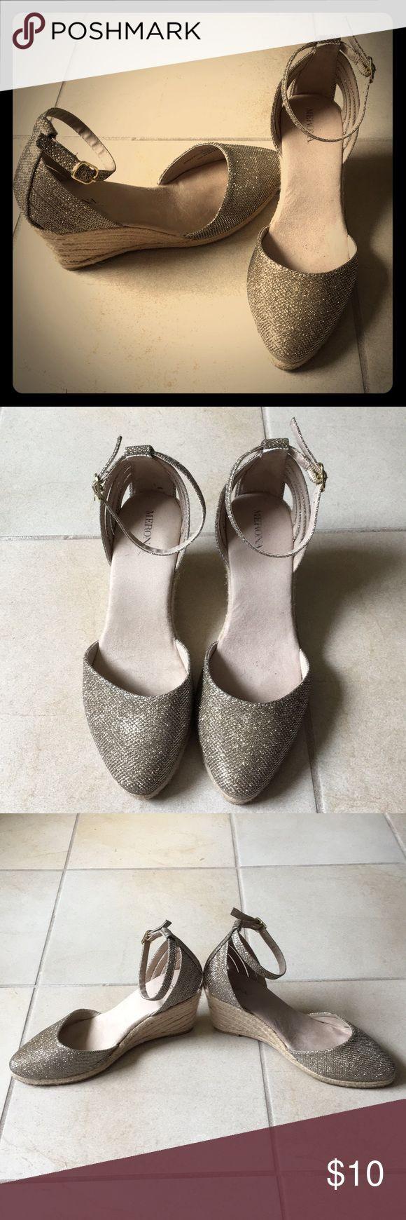 Gold wedge heels - size 7.5 (runs big) Gold wedge heels - size 7.5 (but fits like 8.5). Worn 3x. Smoke-free home. GUC. Merona Shoes Wedges