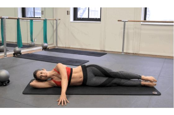 With these side-bends, begin by lying on your side. Keep your back straight and arm rested on the floor for stability as you raise your side and legs using your abs. As you bend, be careful to ensure that only your obliques are creating the lift, not the momentum from your legs.