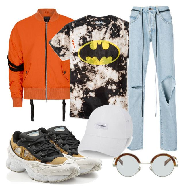 """""""Gotham grunge //"""" by luis-david-laboy ❤ liked on Polyvore featuring adidas, Topman, Bioworld, Off-White, Converse, men's fashion and menswear"""