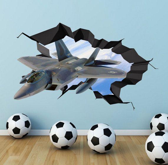 Army Fighter Jet Plane 3D Wall Art Decals Wall Art by GlitterBlast