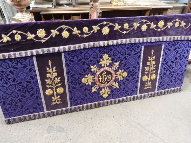 Altar Frontal with Superfrontal Dark Shimmery Lenten Purples from Hyde *  A glorious deep shimmery patterned purple fabric (the photos look more like a dark blue shade, but this is PURPLE!).  Dark purple velvet bands.