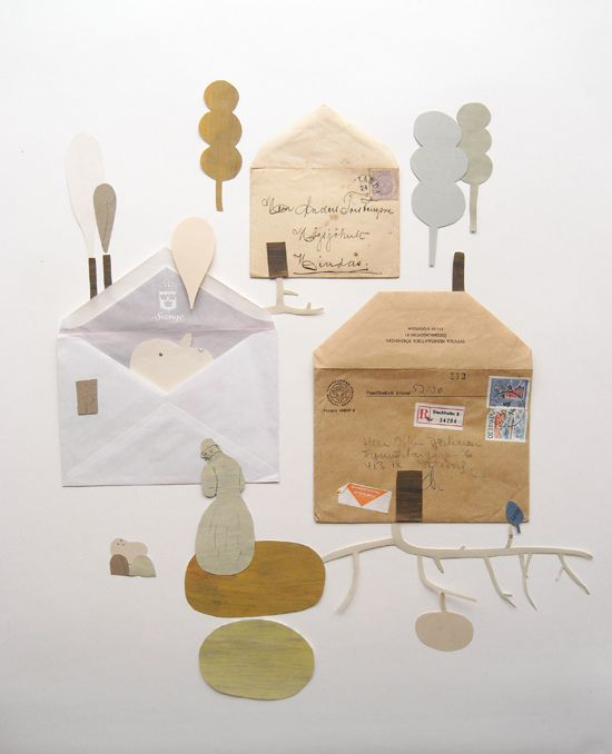 Envelope houses (paper collage ideas for kids)