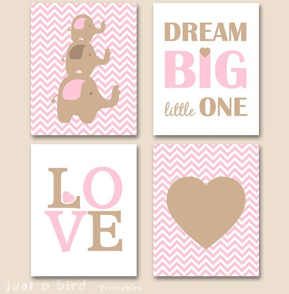 Nursery elephant PRINTABLE pink brown by Justabirdprintables
