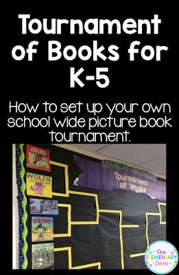 Tournament of Books for K-5.  How to set up your own school wide picture book tournament.  Perfect for March Madness, this blog post ncludes detailed information, samples and example pictures.  Get your students interested in reading and engaged with a book tournament.