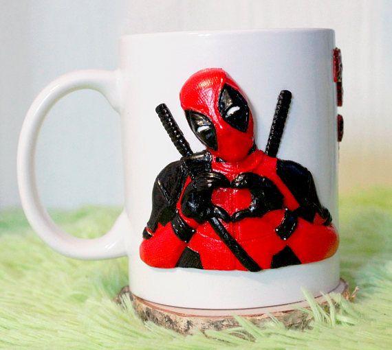 Dead pool cup mug handmade mug decorative mug polymer clay gift