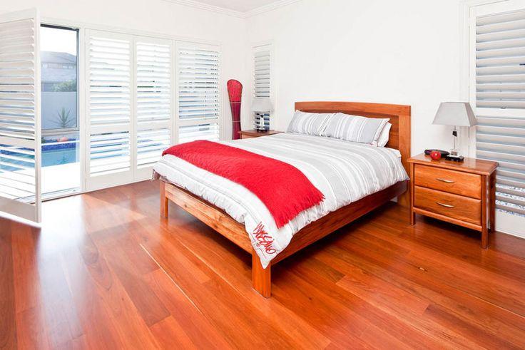 Palm Beach master suite & unique design and floor boards. #floorboards #bedroom #design