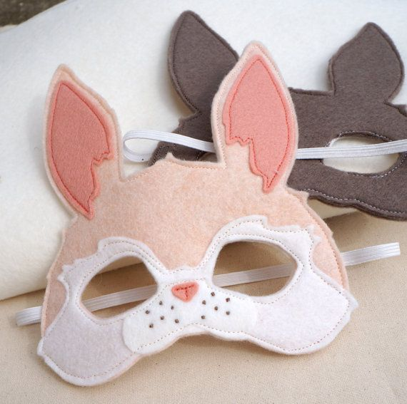 Pink Felt Bunny Mask / Heirloom Quality Wool Blend by PLAYPARADE