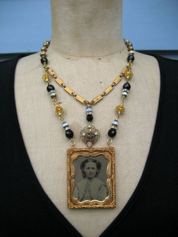 An Antique Ambrotype Necklace Assemblage