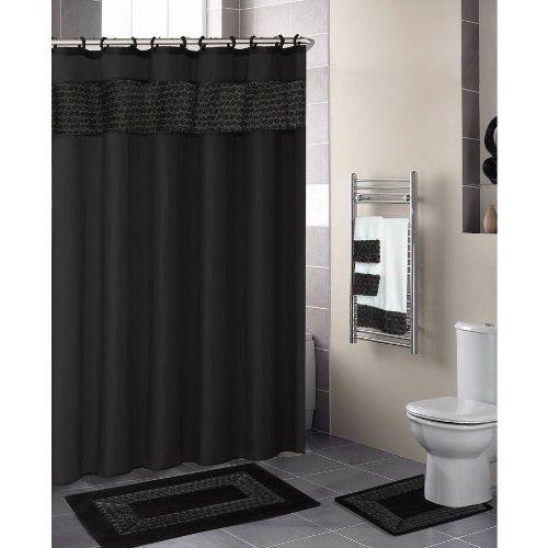 Black FLORAL RIBBON 18 Piece Bathroom Set: 2 Rugs/Mats, 1. Purple Shower  CurtainsFloral ...