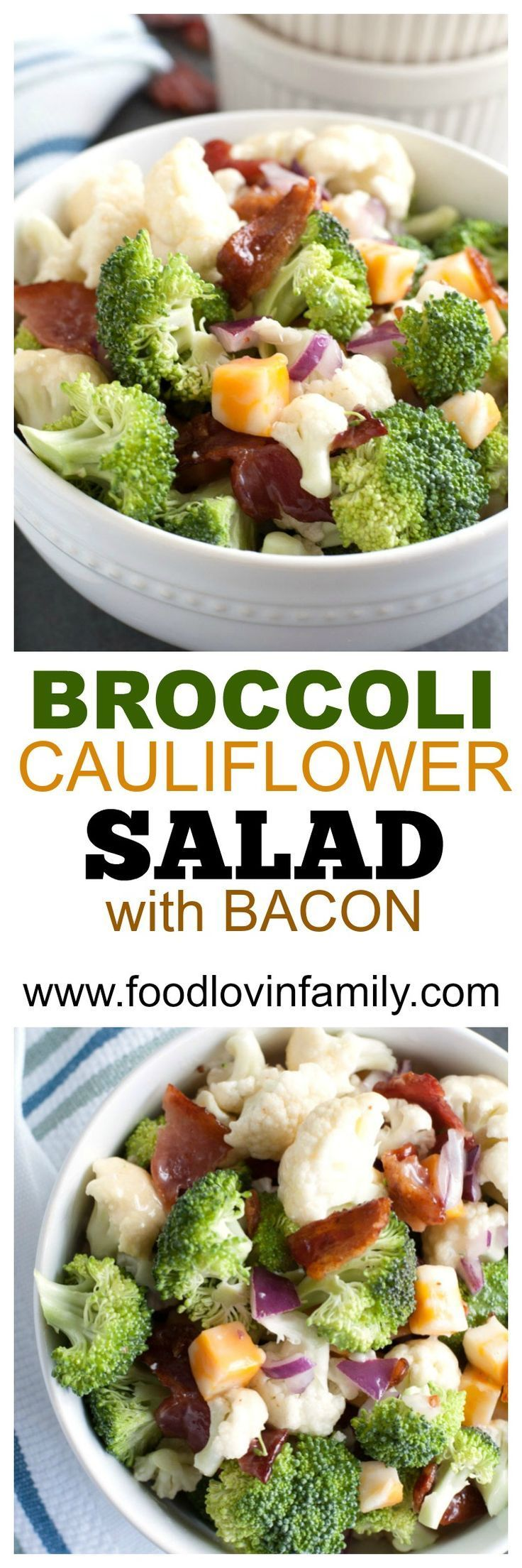 Broccoli Cauliflower Salad with Bacon makes a great salad to bring to any potluck or party. Always a crowd pleaser. Filled with broccoli, cauliflower, bacon and cheese topped with mayonnaise dressing.