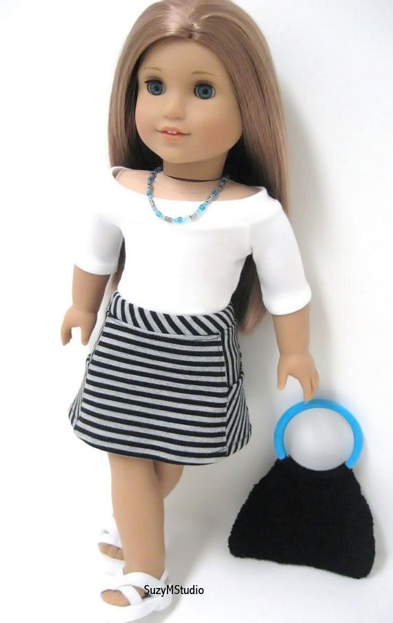 American Doll Outfit - Boat neck T-shirt and Block A-Line Skirt. $36.00, via Etsy.  Cute skirt!!