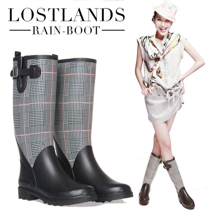 High Quality Women's Rubber High Rainboots Cool Female Motorcycle ...