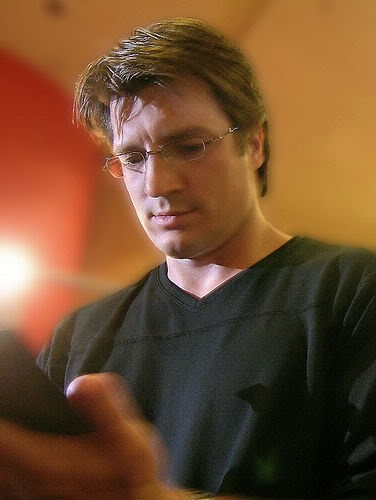 Nathan Fillion in glasses....nceknfunviorfkedkfebjefhjfehrghjdjkxsidekjvrjvfnmdc....I'm sorry.  I lost my ability to type for a moment.