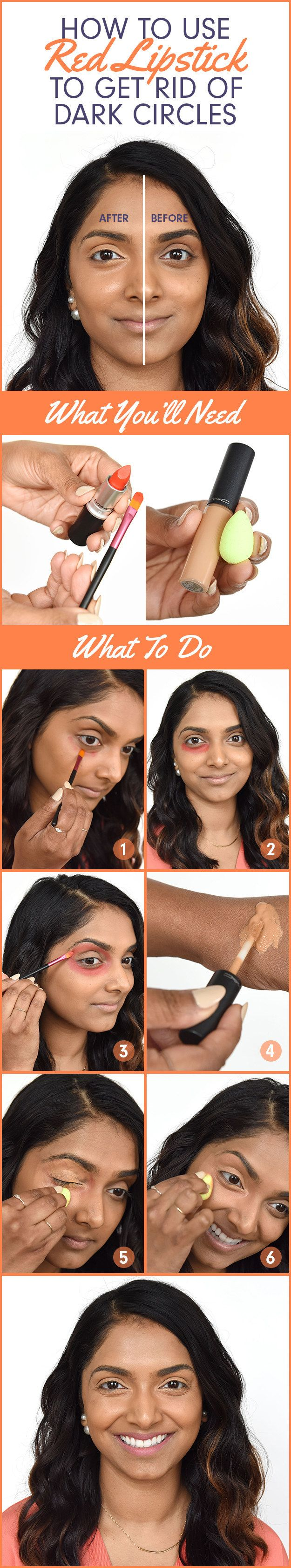 Here's Deepica's signature trick of using red lipstick to cover dark circles: | 9 Ingenious Makeup Tips That Are Especially Useful For South Asian Women