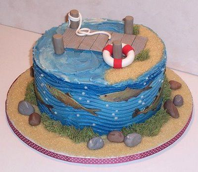 fishing birthday cake - need to add a boat and a little boy fishing