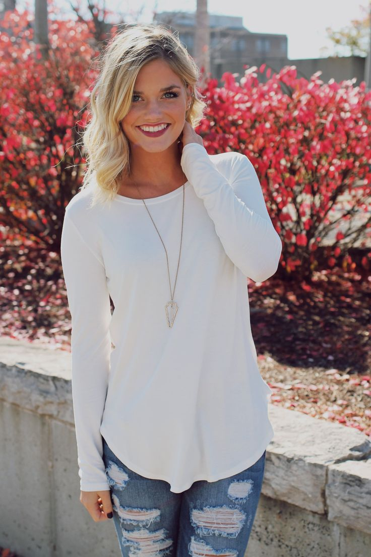 White Long Sleeve Top – UOIOnline.com: Women's Clothing Boutique                                                                                                                                                     More