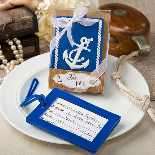 Nautical Themed Anchor Luggage Tags #nautical #anchor #luggagetag #wedding #party #favors