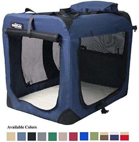 "EliteField 3-Door Folding Soft Dog Crate Indoor & Outdoor Pet Home Multiple Sizes and Colors Available (36""L x 24""W x 28""H Navy Blue)"