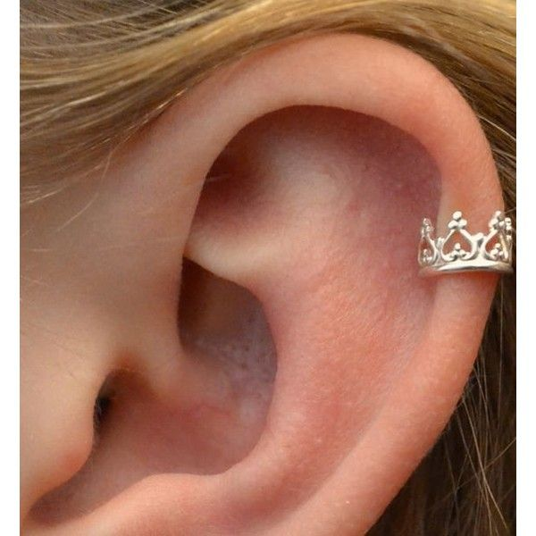 Ear Cuff Crown Sterling Silver SINGLE ❤ liked on Polyvore featuring jewelry, sterling silver ear cuff, crown jewelry, sterling silver crown, sterling silver jewellery and sterling silver jewelry
