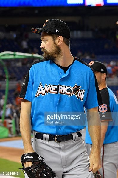 Andrew Miller of the Cleveland Indians and the American League looks on during batting practice for the 88th MLB All-Star Game at Marlins Park on July 11, 2017 in Miami, Florida.