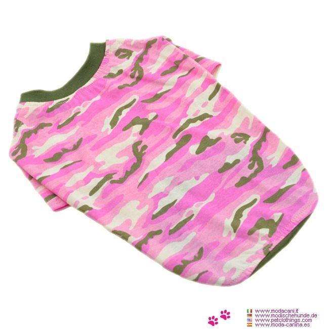 T-Shirt Camouflage Rose pour les Chiens Moyens et Grands - T-shirt en 100% coton pour les chiens de taille moyenne (par exemple: cocker) et grande (Labrador), en camouflage rose; disponible en trois tailles
