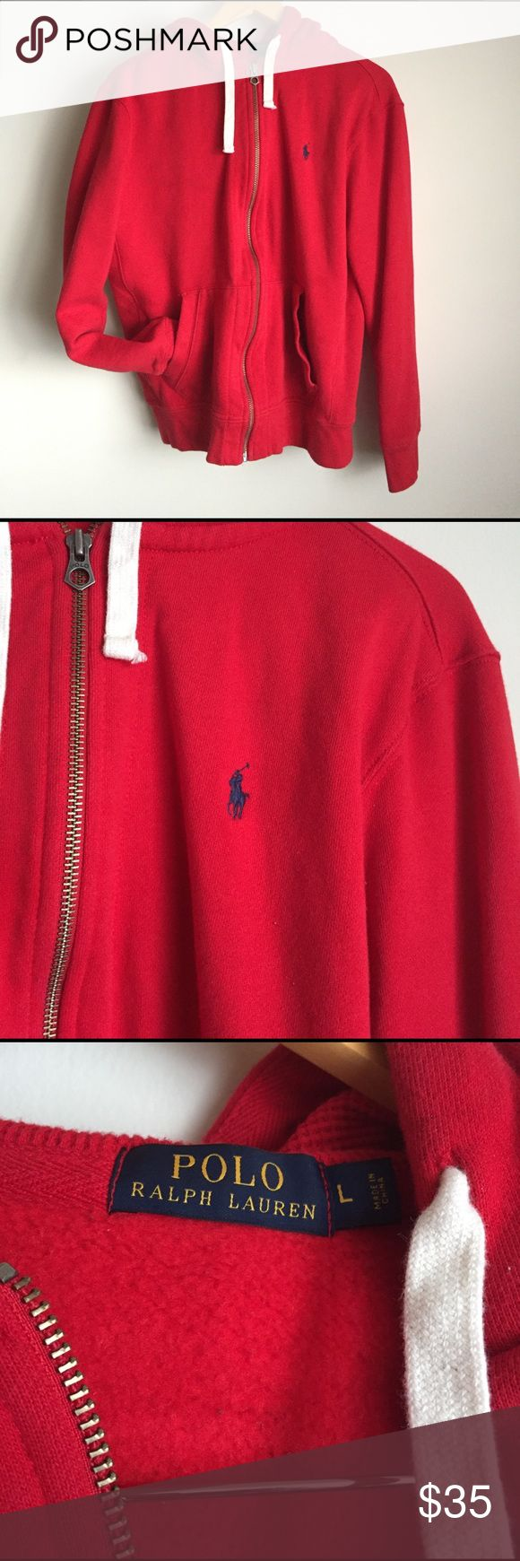 RALPH LAUREN POLO Red Zip Up Hoodie MENS • Gently worn • great condition • RALPH LAUREN POLO Red Zip Up Hoodie With a Blue Logo and Fleece lining • bundle discount offered Ralph Lauren Sweaters Zip Up