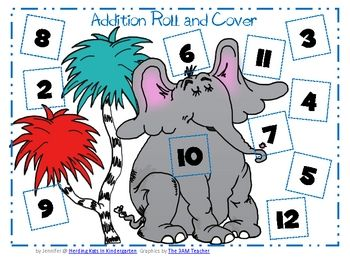 Where the Wild Things Printables preschool | Seussy Roll & Cover Additon and Subtraction for Read Across America