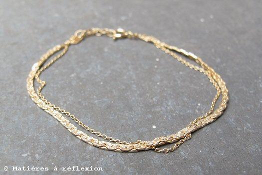 Finesse @ matieresareflexion.com  #SumiKaneko #Bracelet #Vermeil #Accessoire #Chaine #Gourmette #Martele #FaitMain