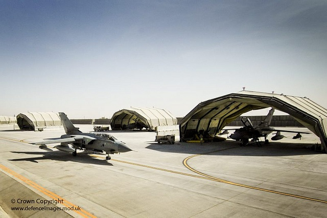 A 12 Squadron RAF Tornado GR4 taxis at Kandahar airfield in Afghanistan. 12 Sqn took over the close air support role in the Summer of 2009 from 1(F) Squadron Joint Force Harriers.
