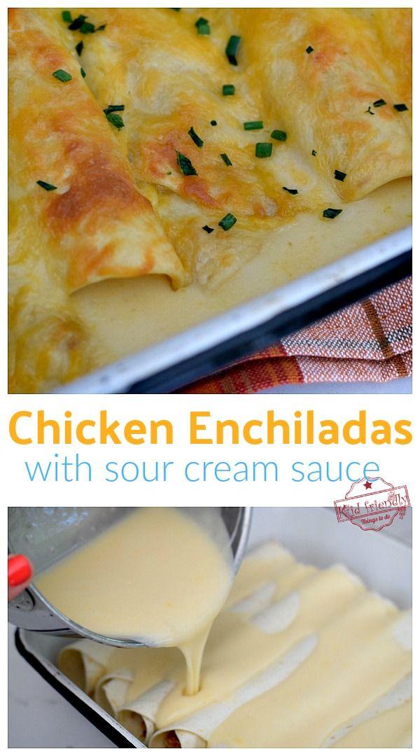 Chicken Enchiladas With Sour Cream White Sauce Recipe Video Recipe White Sauce Recipes Sour Cream Chicken Enchiladas