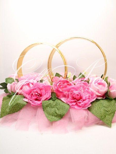 Свадебные кольца на машину с розами и пионами Gilliann CAR046, http://www.wedstyle.su/katalog/katalog/ukrashenija-na-mashinu/kolca-na-mashinu, wedding ideas, wedding decoration on car