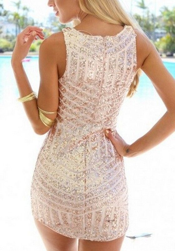 Golden Striped Sequin Plunging Neckline Sleeveless Bodycon Homecoming Party Sexy Mini Dress - Mini Dresses - Dresses