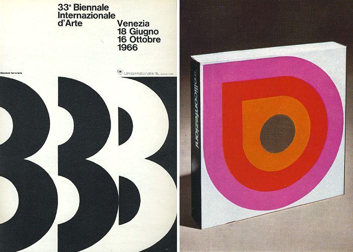 Bob Noorda, Poster for Biennale di Venezia, 1966 and packaging for Pirelli, 1968.