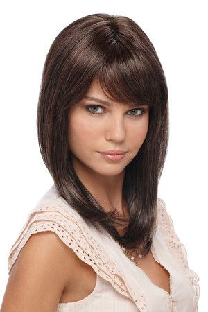 "Dakota Mono Top Below the Shoulder Long Layered Cut with Volume and Wispy Bangs Hair Lengths: Bang - 3¾"", Side - 12"", Crown - 12½"", Nape - 10¼"" Colors Shown: R6/12H"