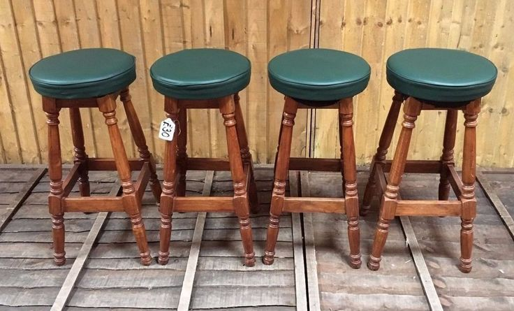 SET OF 4 TALL WOOD  BARSTOOLS WITH  GREEN SEAT PADS  / PUB / CAFE / HOME /  #Unbranded