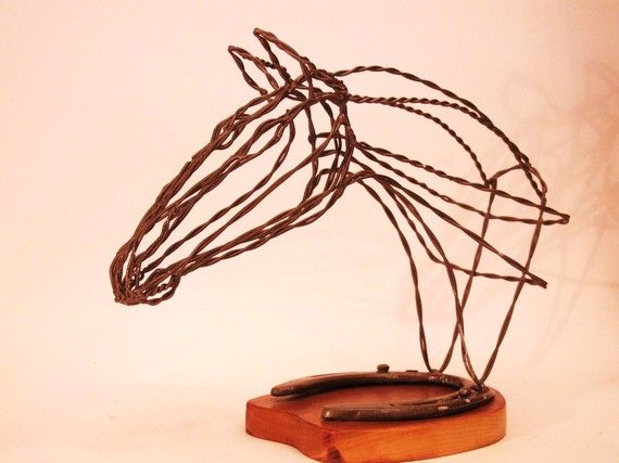 Horse Head Sculpture made from recycled wire