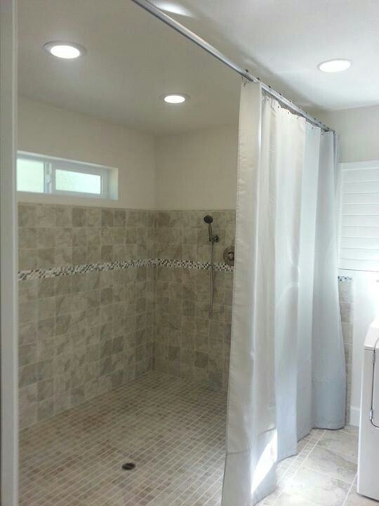 Walk-in shower .. custom shower curtain and rod for the handicapped