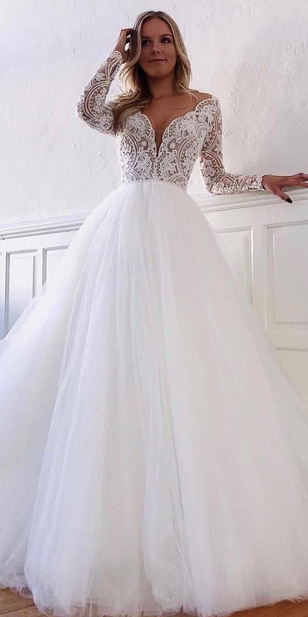 30 Simple Wedding Dresses For Elegant Brides Simple Wedding Dresses Ball Long Sleeve Ball Gown Wedding Dress Wedding Dresses Lace Wedding Dress Long Sleeve