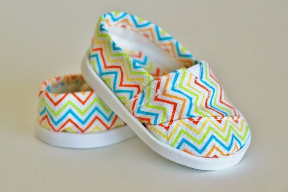 American Girl Doll Clothes - Toms Style Shoes  - Rainbow Chevron