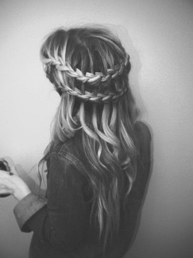 romantic double waterfall braid with curls.... Really want it to look like this from the back