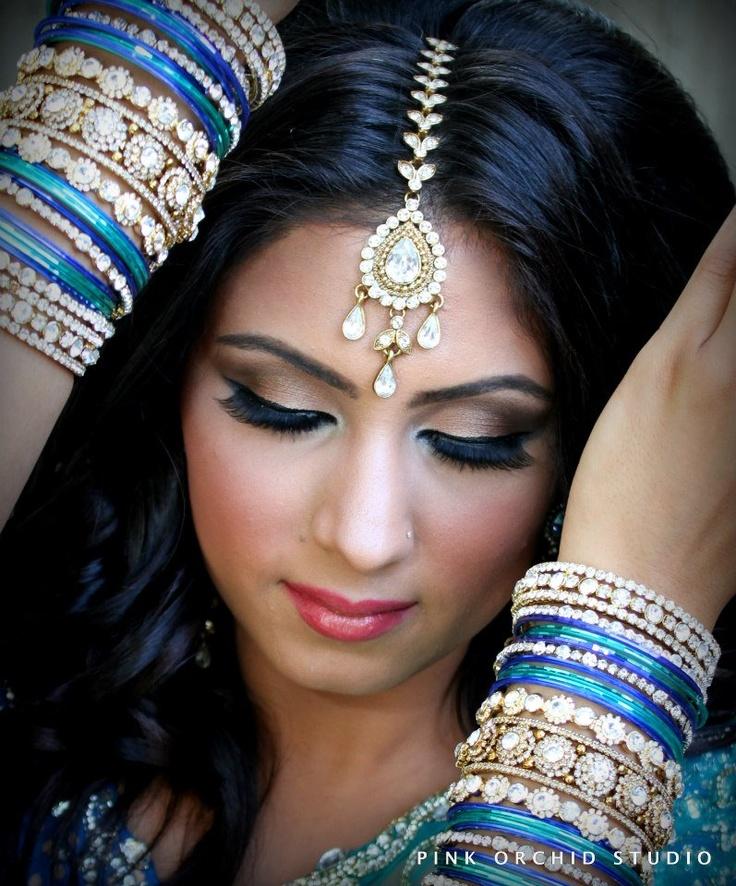 Indian bridal makeup, maang tikka, bridal bangles
