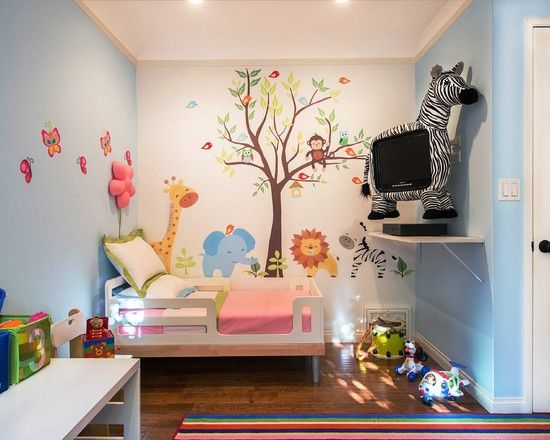 Unique Kids Room Decor With Animals On Beige Wall Plus Green Bedding And Kids Bed Plus Unique Tv On Light Blue Wall With Pink Bedding On Str...