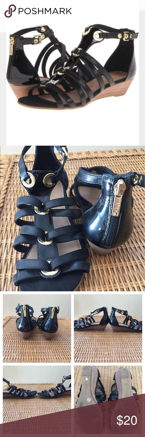 "Sperry Top-Sider ""Grace"" Sandals Leather/Patent Black leather on straps, black patent leAther in back and center front if sandal. Low wedge heal. Gold rings and back zipper. First photo is stock photo; rest are of actual shoe for sale. 👗👚👜Check out the $6 section of my closet (before the sold items). Lots of bundle-worthy $6 items! 15% bundle discount on 2+ items in a bundle.🚫NO TRADES🚫 Sperry Top-Sider Shoes Sandals"
